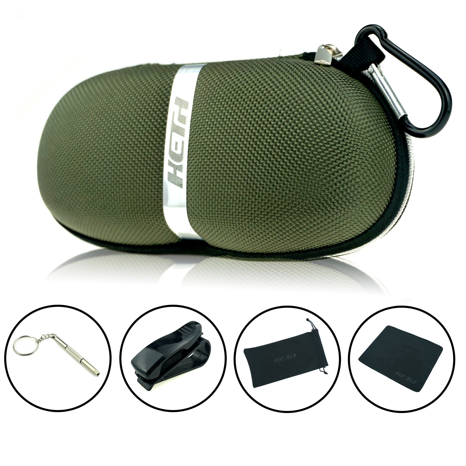 Sunglasses Cases,Semi Hard Portable compressive Strength Travel Zipper Eyeglass Cases with Carabiner. (Army Green) by Heth