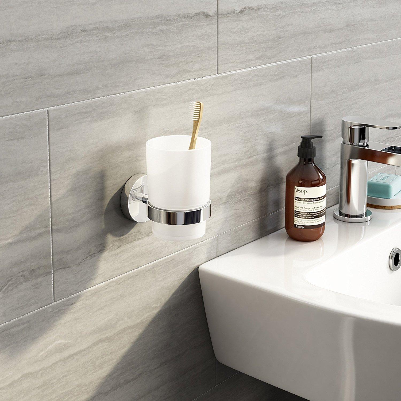 soak Moderne chromé porte-gobelet brosse à dents mural, accessoire salle de bain carré iBathUK