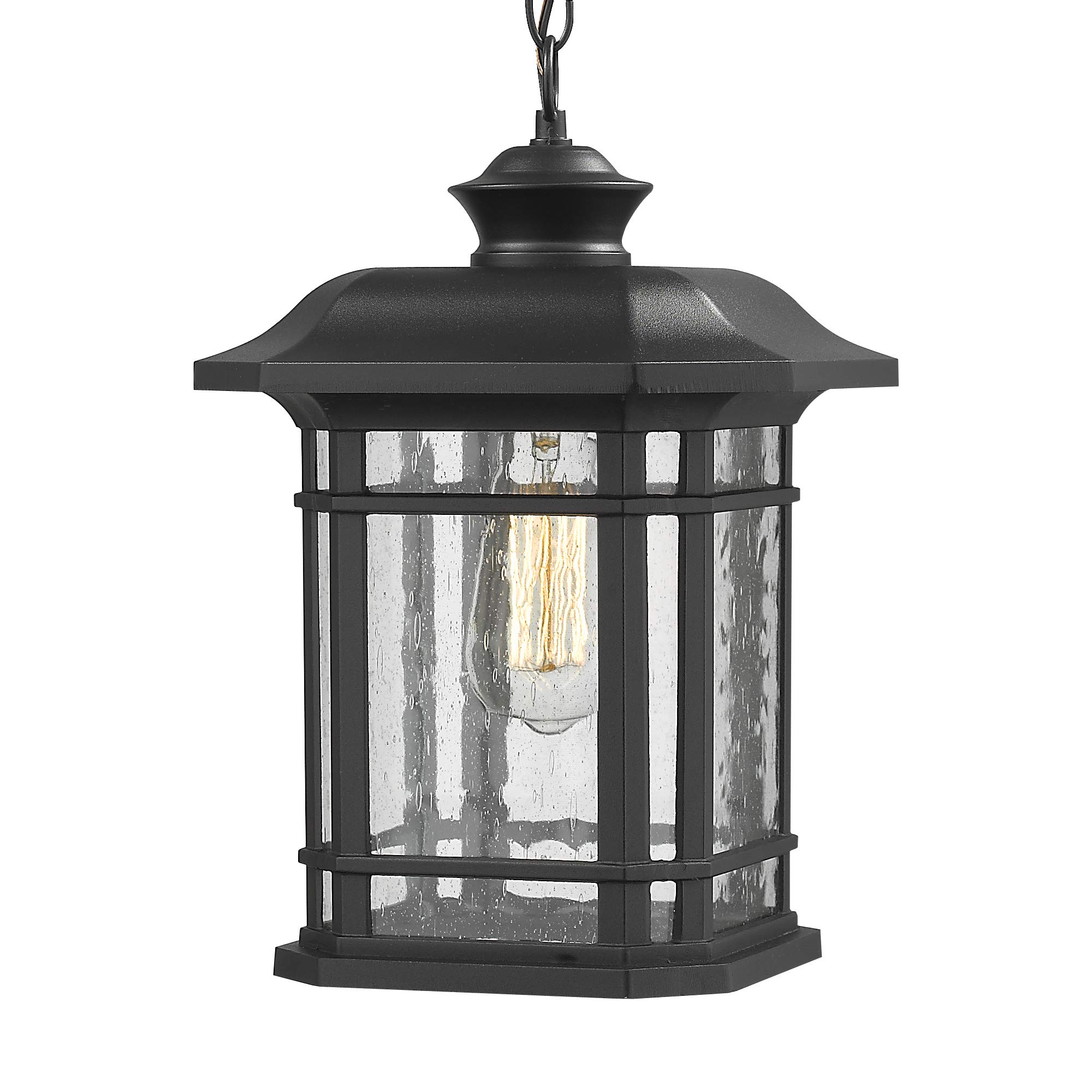 Emliviar Modern Exterior Pendant Light Lantern, 14'' Outdoor Hanging Light in Black Finish with Seeded Glass, A2202110D1