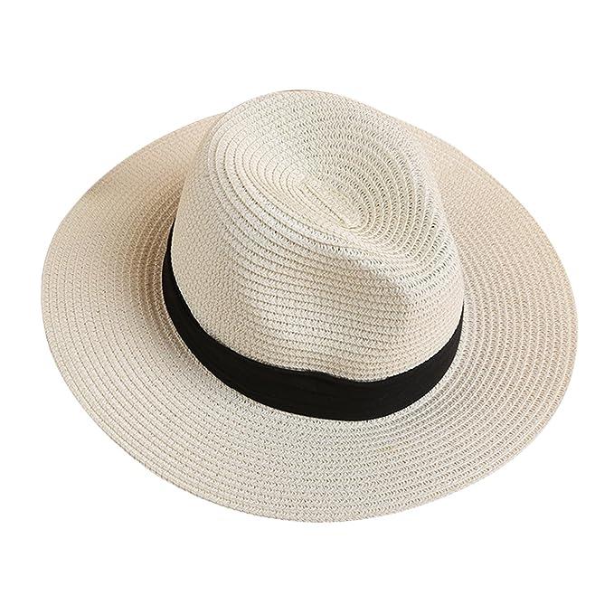 9a9b27028 LAEMILIA Summer Beach Sun Hats for Women Floppy Wide Brim Straw UV Cap  Foldable Holiday Travel