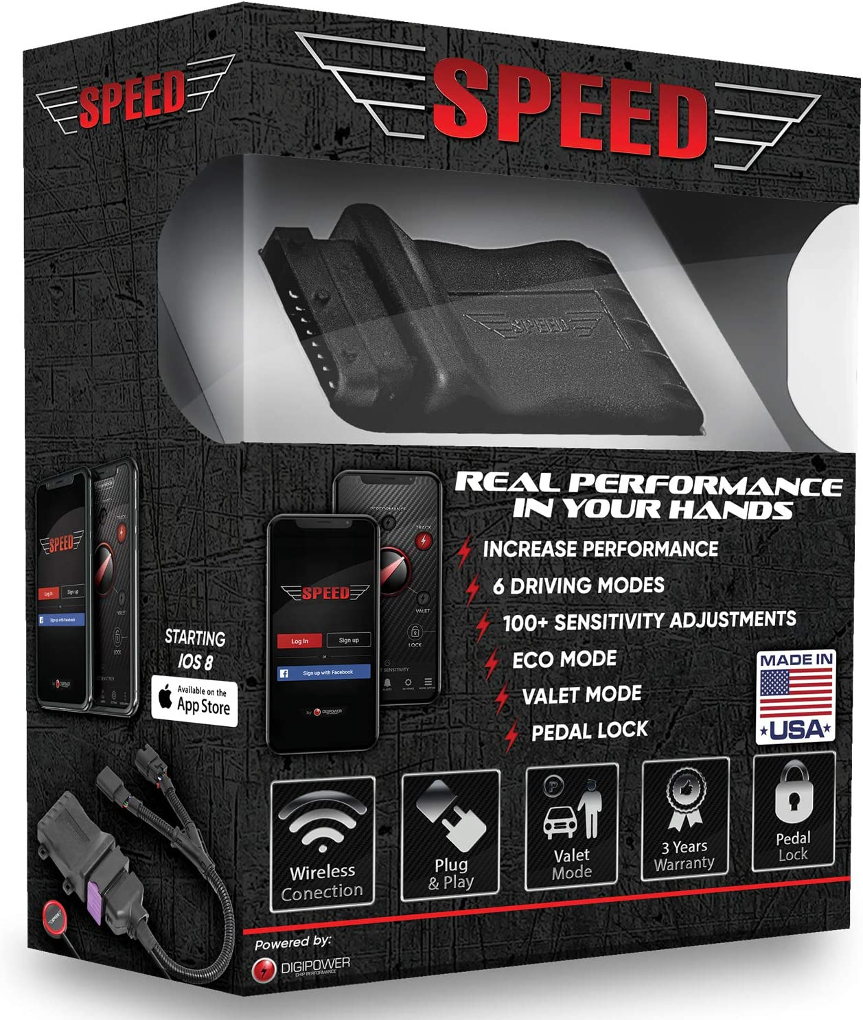 Digipower USA 20092 Speed Bluetooth Throttle Response Controller Fits 2007-2019 Dodge Ram 1500-Fits All Trim Packages