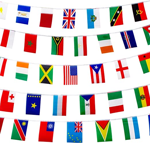 Amazon Com 200 World Country Flags International Banner By Bucketlist 165 Feet 8 2 X 5 5 For Party Classroom Decoration Bars Sport Events School Festivals Celebrations Free Country Fun Facts Guide Home Kitchen