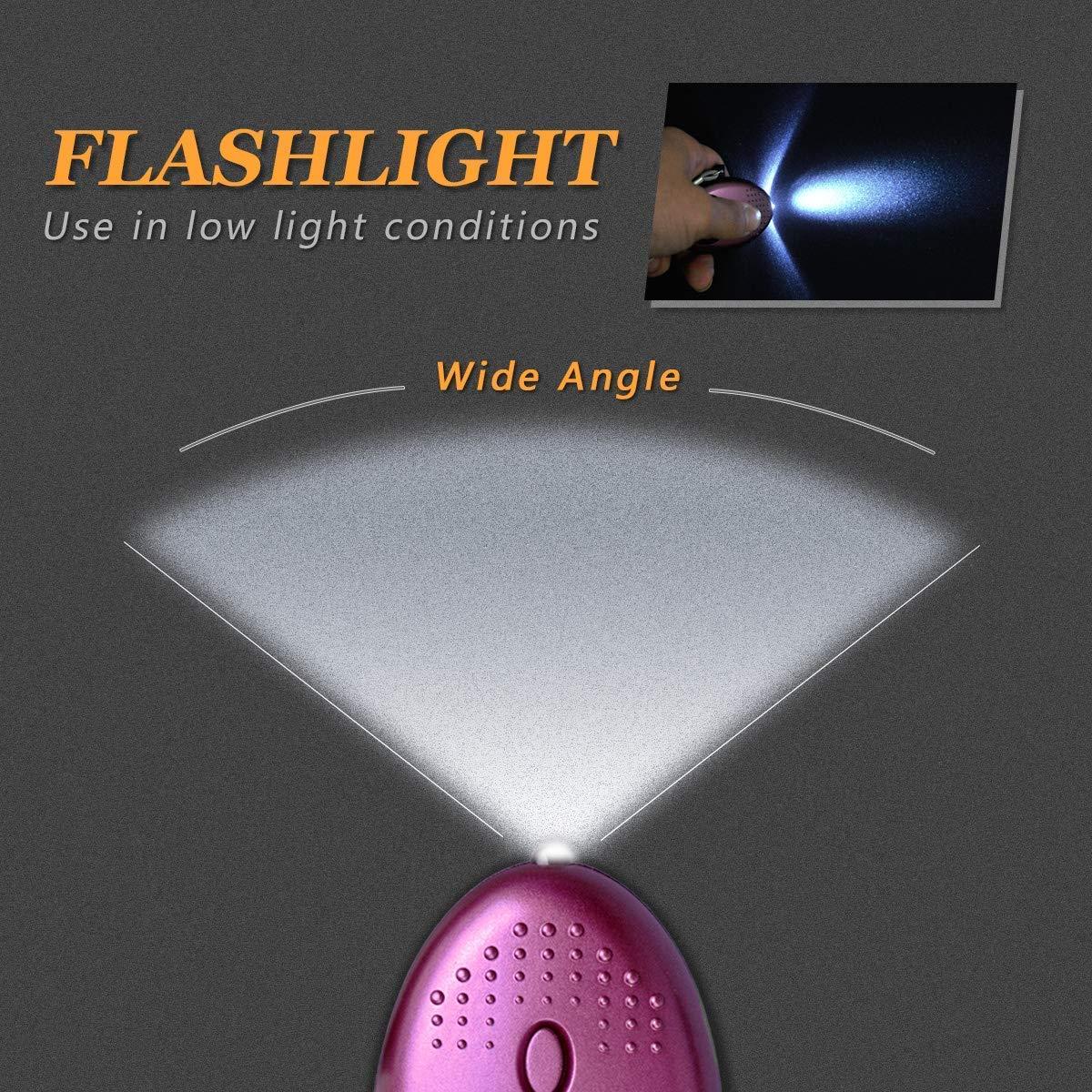 Mintime Llavero con Alarma de p/ánico y violaci/ón Alarma Personal de 140 dB Alarma de Emergencia con Linterna LED para Mujeres y ni/ños