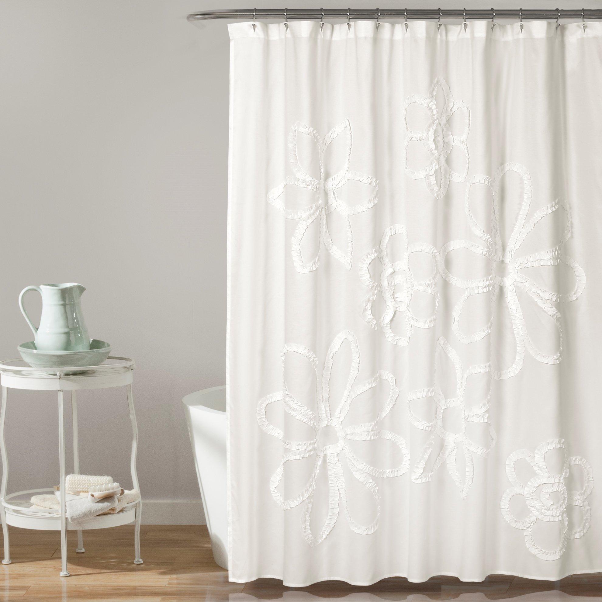 Lush Decor Décor Ruffle Flower Shower Curtain, 72'' x 72'', White
