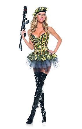 4906cdbcf53 Amazon.com: Adult Women's 3 Piece Camouflage Army Babe Peplum Dress ...