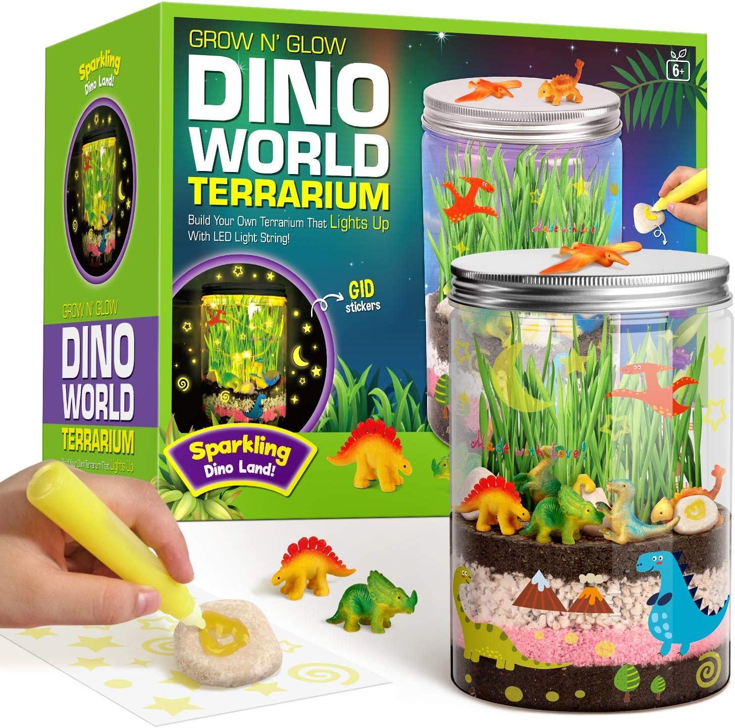 XXTOYS Light-up Dino World Terrarium Kit for Kids - Dinosaur Toys - Create Your Own Mini Dinosaur Garden in a Jar Glows at Night - Science Kits – Gardening Kit, Creativity Gifts for Boys & Girls