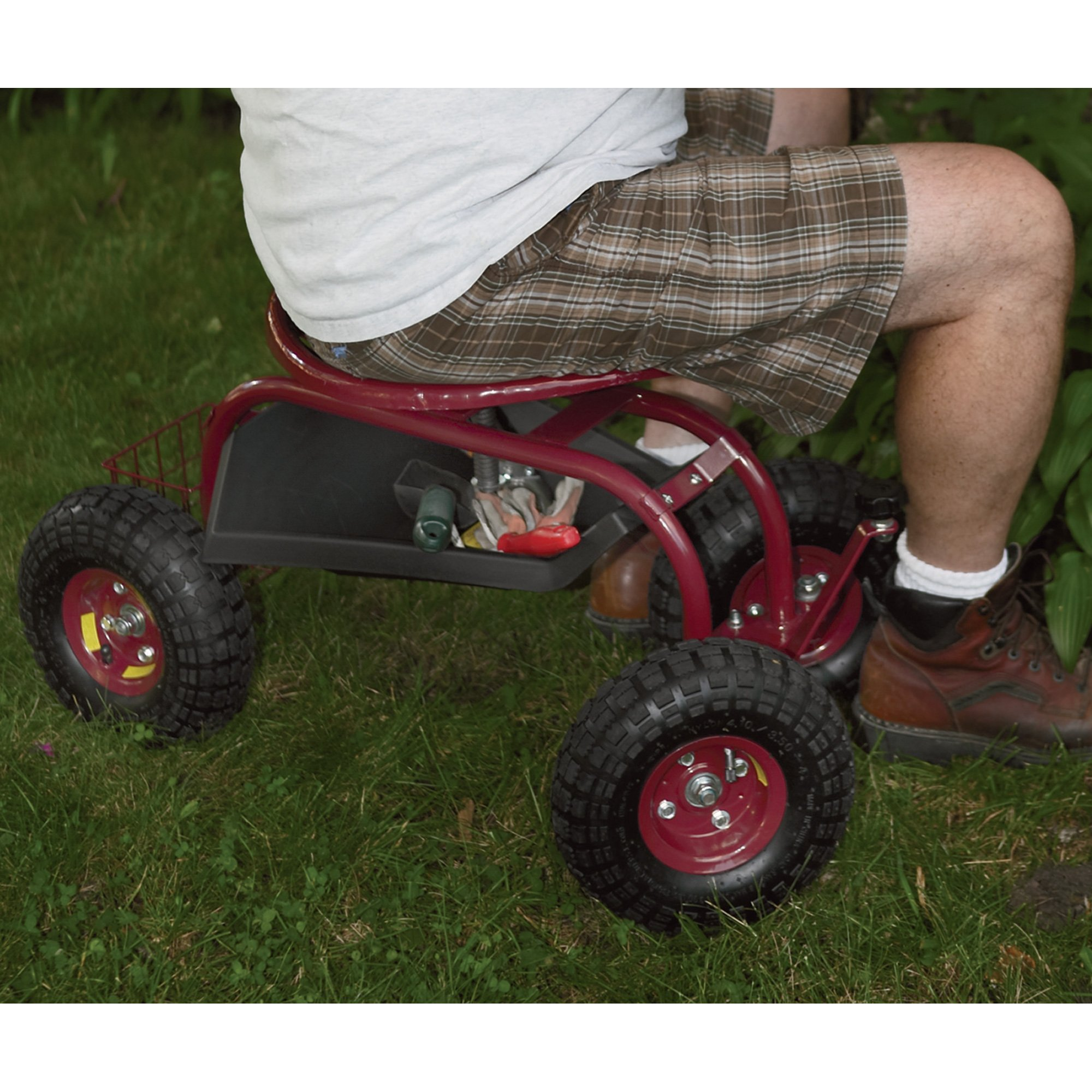 Rolling Garden Seat with Turnbar by Ironton