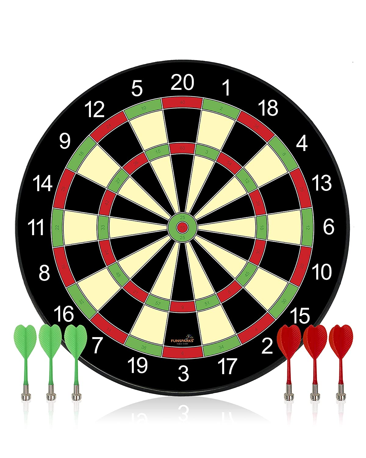 Magnetic Dart Board Game - Full Set with 3 Green and 3 Red Darts