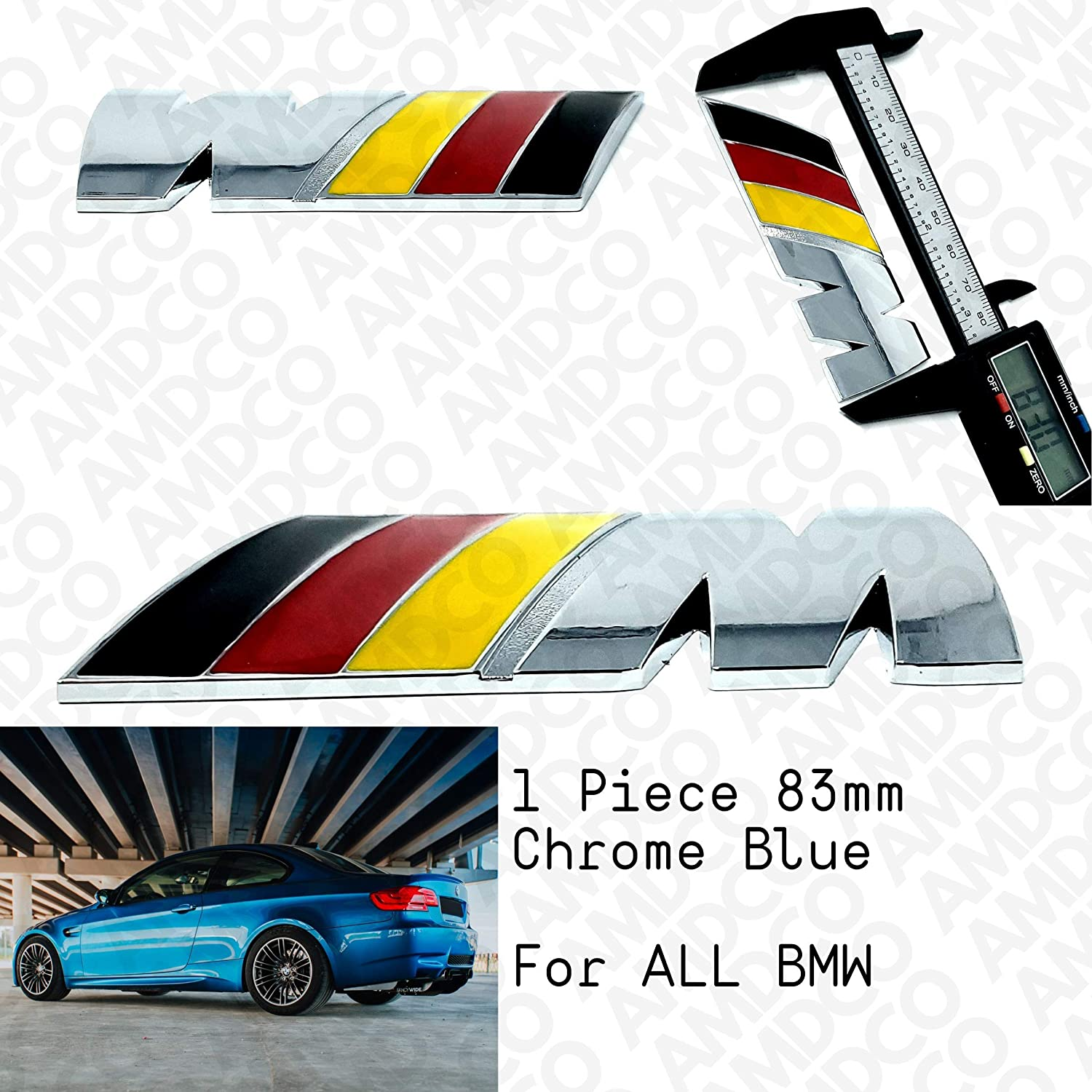 AMD pack of 1 M CHROME Emblem Badge Stickers Decals with Strong 3M Includes instructions MEASURE Before Purchase Fitment Top Quality fit For BIMMER 3 series 5 6 4 2 X5 X3 X6 X2 etc CHROME RED