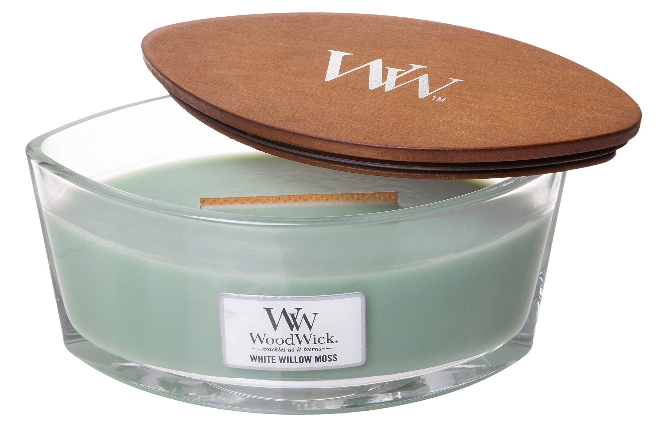 WoodWick WW White Willow Moss, Highly Scented Candle, Classic Ellipse Glass Jar with Original HearthWick Flame, Large 7 Inches, 16 OZ