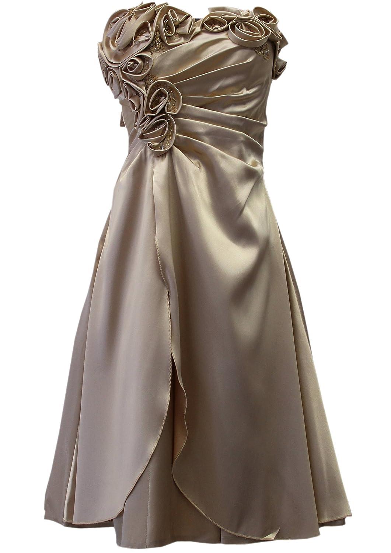 JuJu & Christine Kurzes Satin Kleid, Abendkleid, Ballkleid, Cocktailkleid (A2505) Alt-Gold Gr. 40