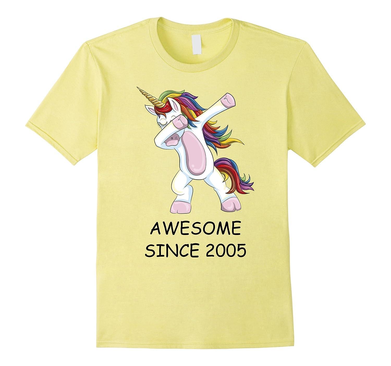 Awesome Since 2005 - Dabbing Unicorn 12th Birthday T-Shirt-T-Shirt