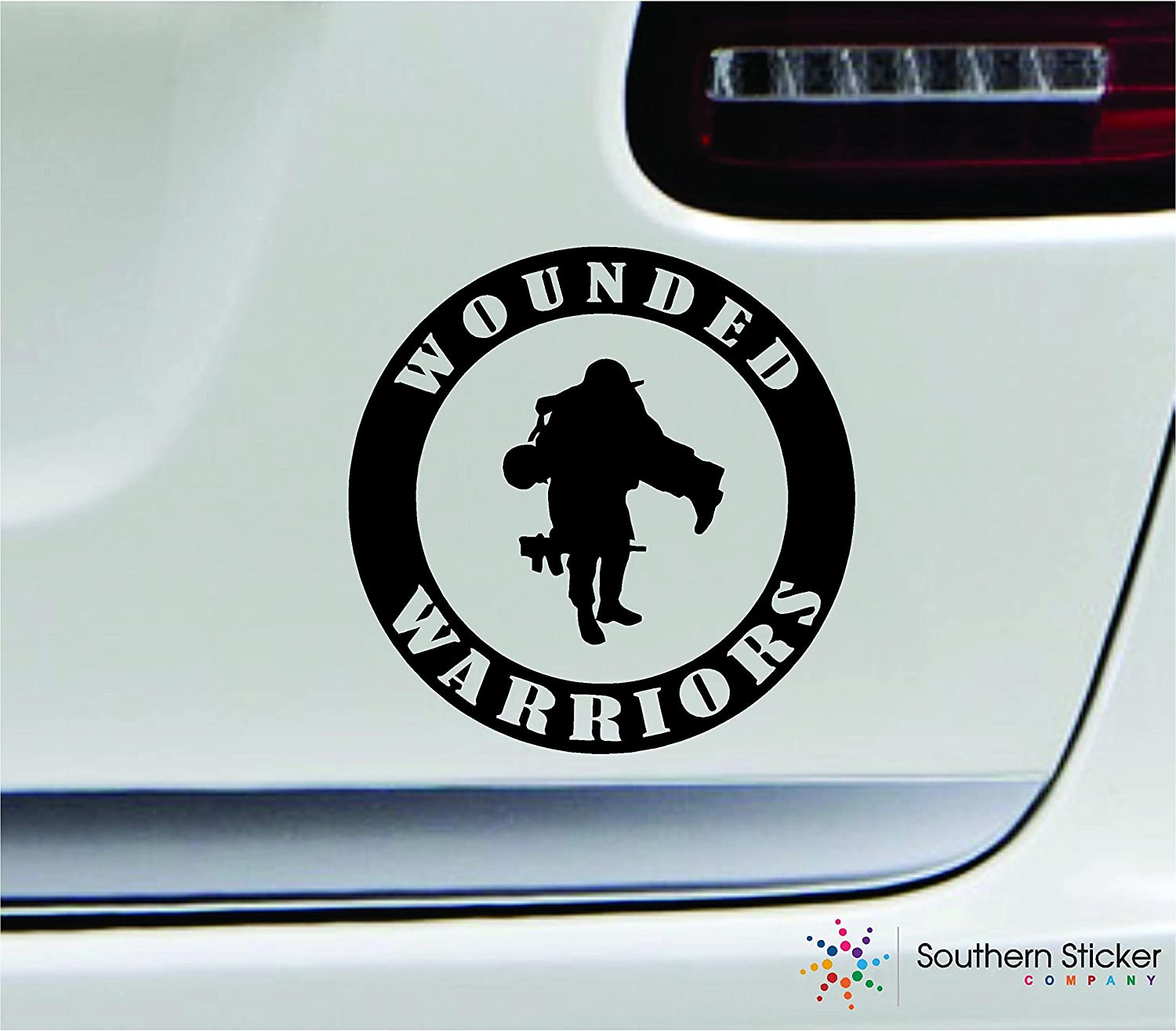 Wounded warriors symbol 5.4x5.4 black marine navy army military soldier veteran united states america color sticker state decal vinyl Made and Shipped in USA