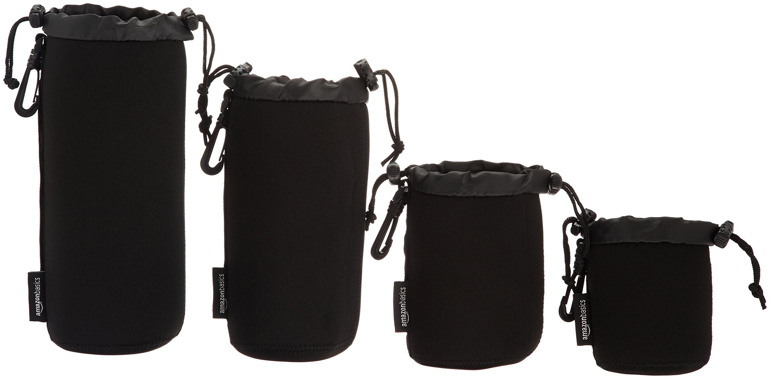 AmazonBasics Water Resistant Neoprene Camera Lens Accessories Protective Case - Set of 4, Black by AmazonBasics