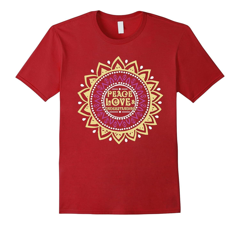Peace Love  Understanding Bohemian Hippie Mandala T-Shirt-Vaci