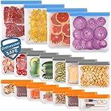 Dishwasher Safe Reusable Food Storage Bags 18 Pack ( 4 Reusable Gallon Bags & 7 Reusable Sandwich Bags & 7 Reusable Snack Bag