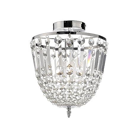 Paul Neuhaus 15003-17 Kamea - Lámpara de techo (cristal, IP20, 1 bombilla E14, 40 W, 27 x 27 x 35 cm), color transparente