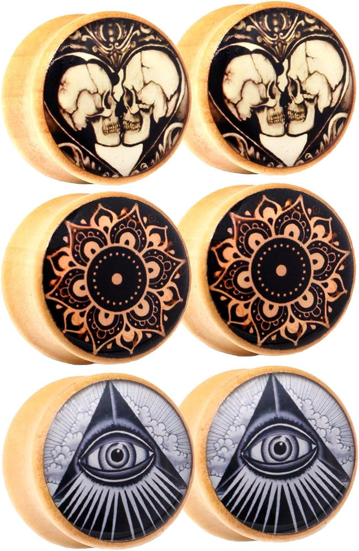 Awinrel Wood Saddle Ear Gauge Plugs Flesh Tunnel Stretcher Piercing Eyelet Mandala Skull Illuminati All Seeing Eye 3 Pairs