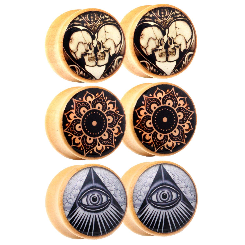 Awinrel Wood Saddle Ear Gauge Plugs Flesh Tunnel Stretcher Piercing Eyelet Mandala Skull Illuminati All Seeing Eye 3 Pairs 3/4 inch 18mm by Awinrel