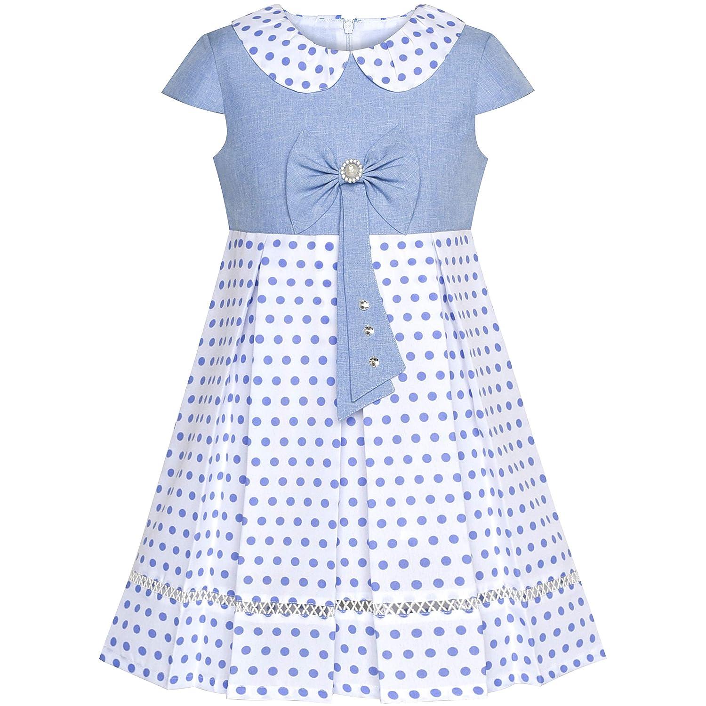 Vestido para niña Polka Dot Uniforme Escolar Corbata de moño Perla ...