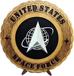 Space Force Armed Forces Military Unique Decorative Custom Laser Crafted Three Dimensiona Wooden Wall Plaque with Stand (Solid Background)