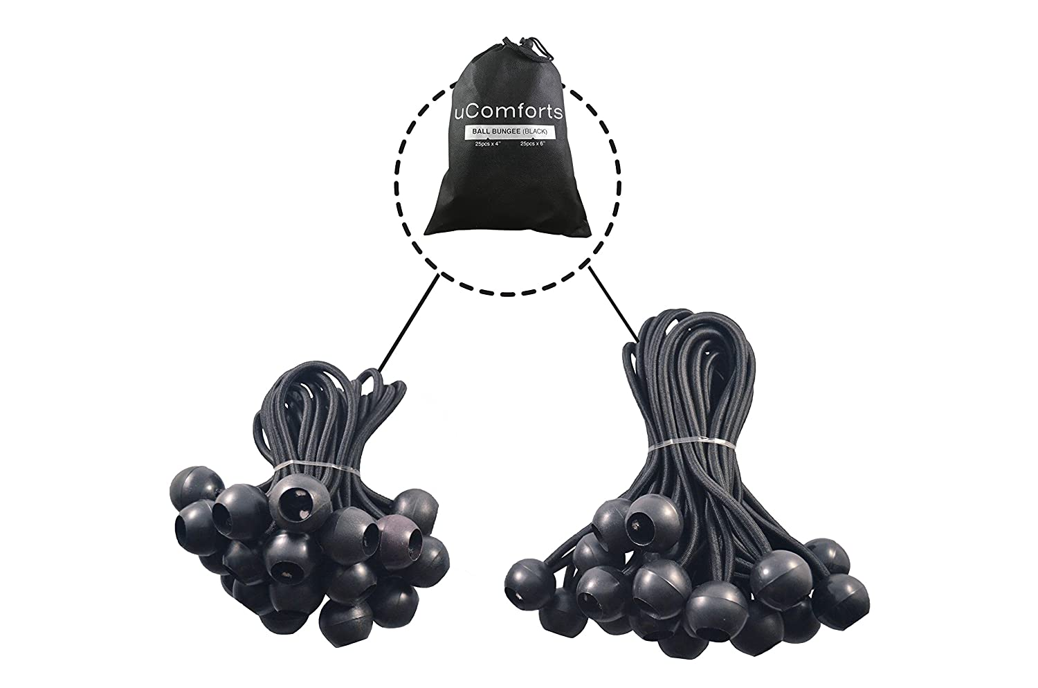 Bungee Loop with Ball Tarp Bungee Cords ECROCKET uComforts Premium Black Ball Bungee Cords 6 inch Black UV Treated Cord Ball Bungee Cord Giving You The Best New Ball Bungee Quality 50 Pack of 4 inch
