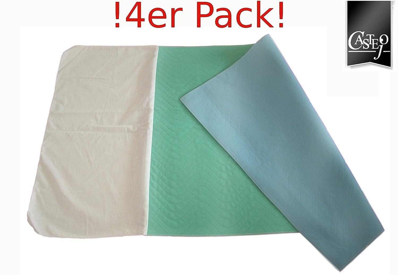 CA332/FL 4er PACK Inkontinenzunterlagen, Inkontinenzauflagen mit Flügel Farbe: blau/grün oder weiß/blau Matratzenschutz, , Pflege, Inkontinenz, Hygieneauflage Castejo
