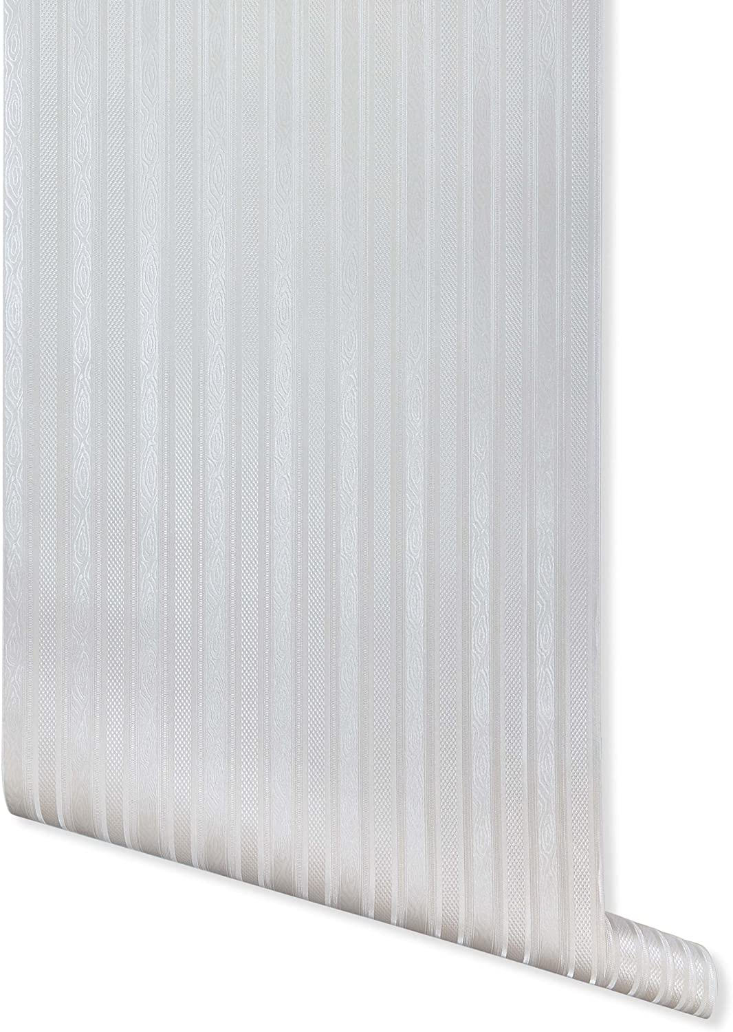 Boudin Stripe, White Textured Wallpaper for Walls - Double Roll - Romosa Wallcoverings AH7052