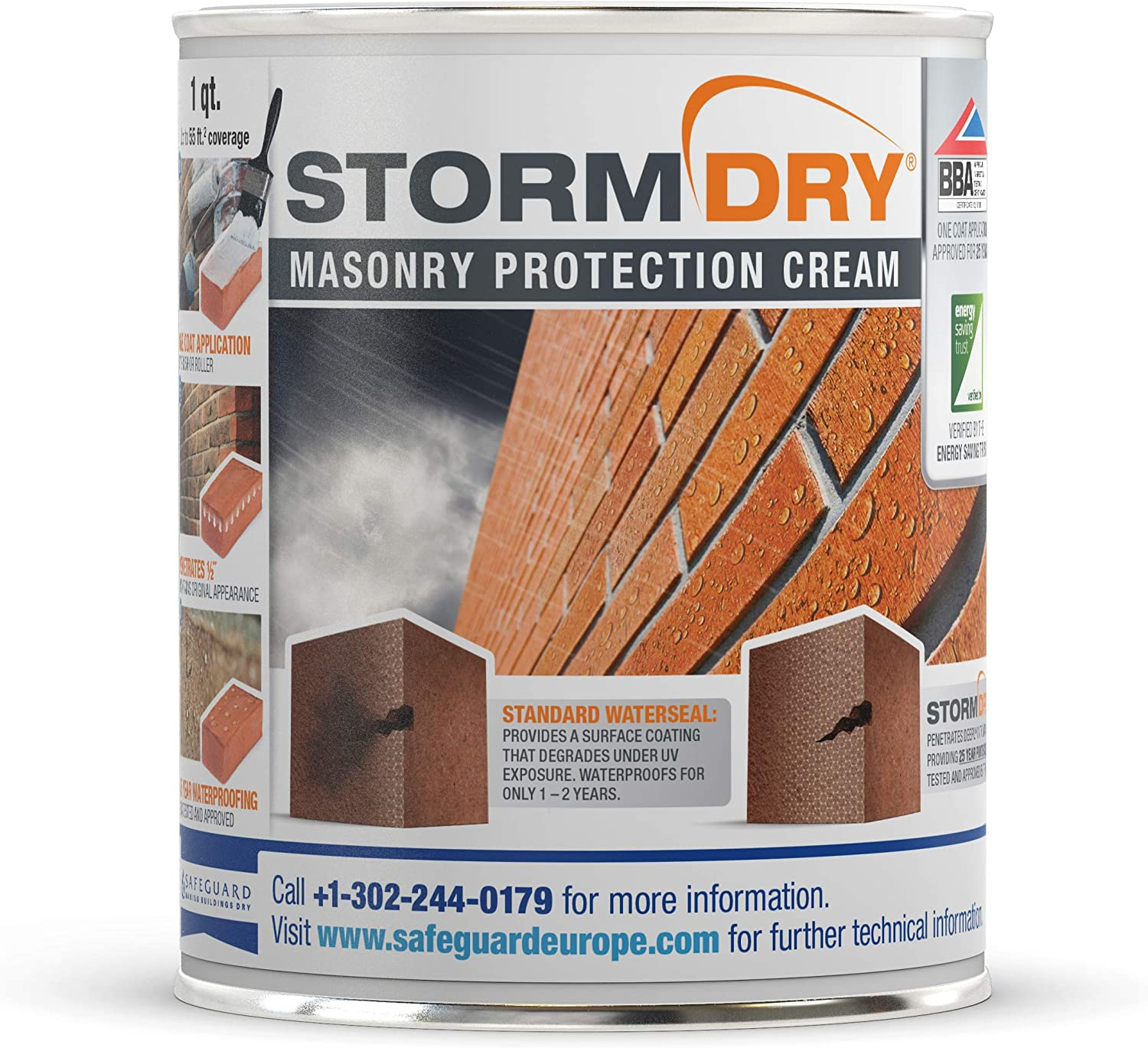 Stormdry Masonry Protection Cream (1 Quart) Certified Brick, Stone, Mortar, Render and Masonry Waterproofer - Proven 25 Year Protection Against Penetrating Damp