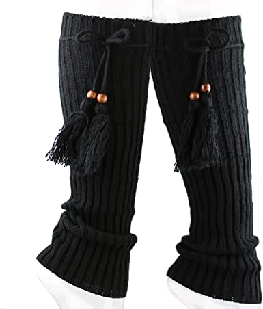 The Hat Depot 700lw-w13 Womens Leg Warmer with Knit Tie and Wooden Bead-7colors