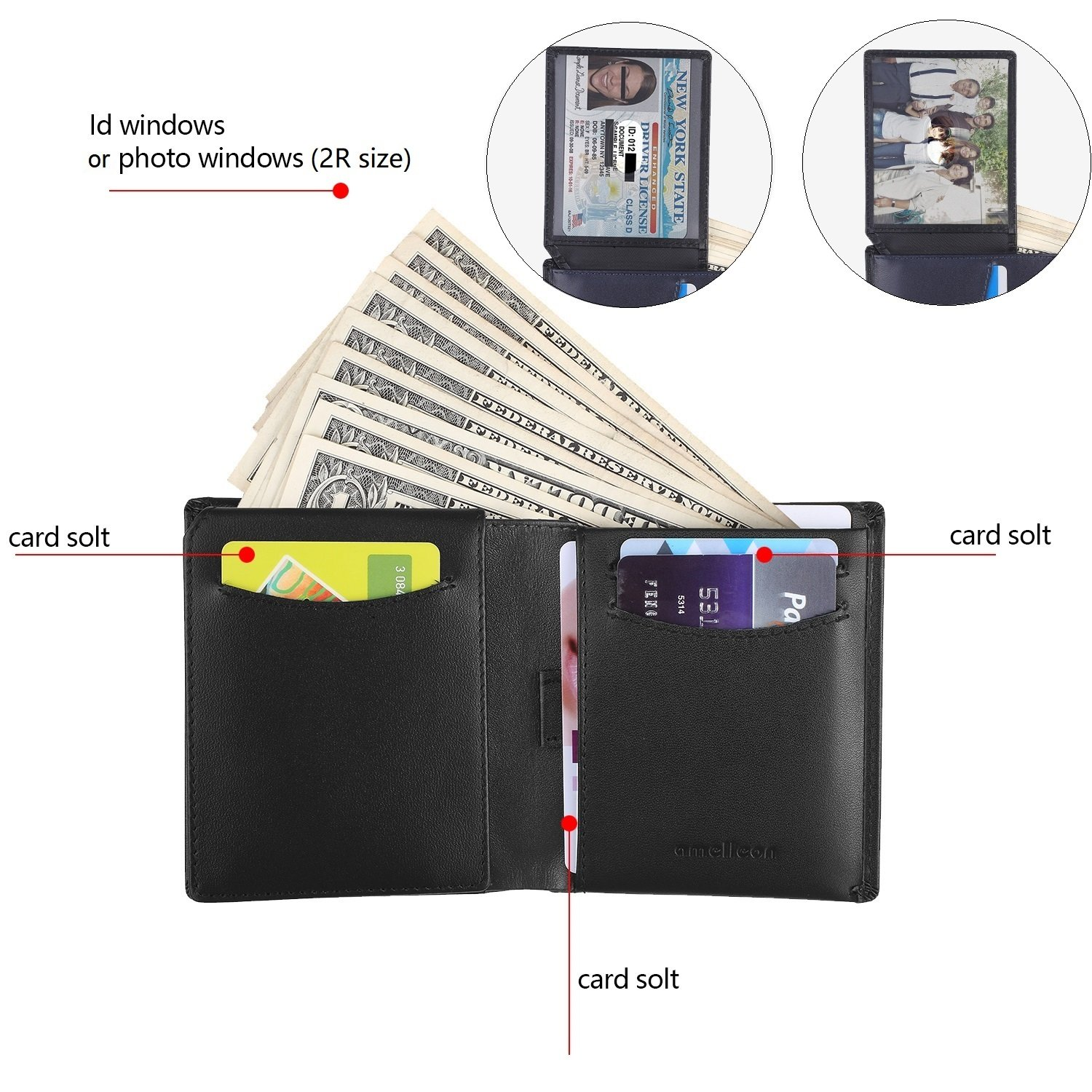 Amelleon Trifold Bifold Genuine Leather RFID Wallets for Men – ID & Photo Window,10 Credit Card Slots,Bill & Coin Pockets-For Work,Travel,Gift&More (Black) by amelleon (Image #3)