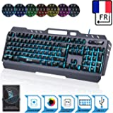 KLIM Lightning - Nouvelle 2018 Version - Clavier Gamers Hybride Semi-Mécanique AZERTY + Choix DE 7 Couleurs + Garantie 5 Ans - Structure en Métal - Clavier Gamer Gaming Jeux Vidéos PC Windows, Mac
