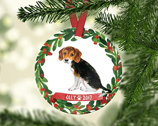 "HAND MADE BEAGLE  PUPPY DOG 4/"" GLASS CHRISTMAS ORNAMENT//BALL"