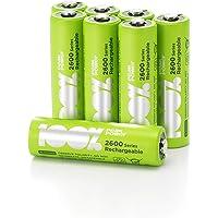 100% PeakPower 8 x Pilas Recargables AA 2600 Series | Capacidad mínima Garantizada 2300 mAh NiMH | Pilas AA Recargables…