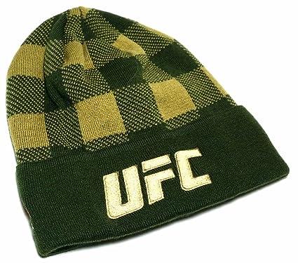 55cf47d5801 Amazon.com   UFC Reebok MMA Octagon Toque Knit Cuffed Plaid Olive ...