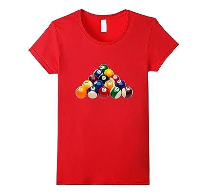 Women s Pool Ball Billiards t-shirt Rack Cue Stick Pocket 8-Ball Small Red   Amazon.co.uk  Clothing 714430a4b1