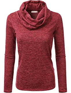 1c44b8565ce94 Doublju Soft Knit Cowl Neck Blouse Top for Women with Plus Size ...