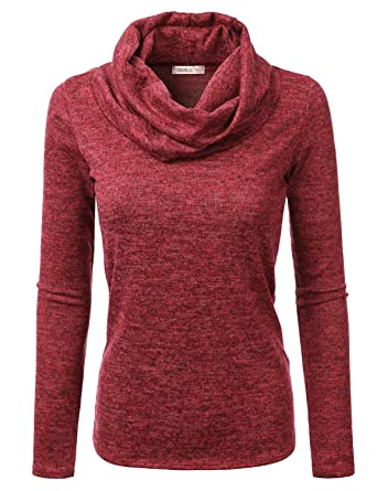 e9ae4a36feba9 Doublju Cowl Neck Heather Knit Sweater Top for Women with Plus Size RED  Small