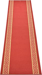 RugStylesOnline Custom Size Runner Rug Meander Greek Key Border Roll Runner 22 Inch Wide x Your Length Size Choice Slip Skid Resistant Rubber Back Cut to Size Many Color Options (Red, 6 ft x 22 in)