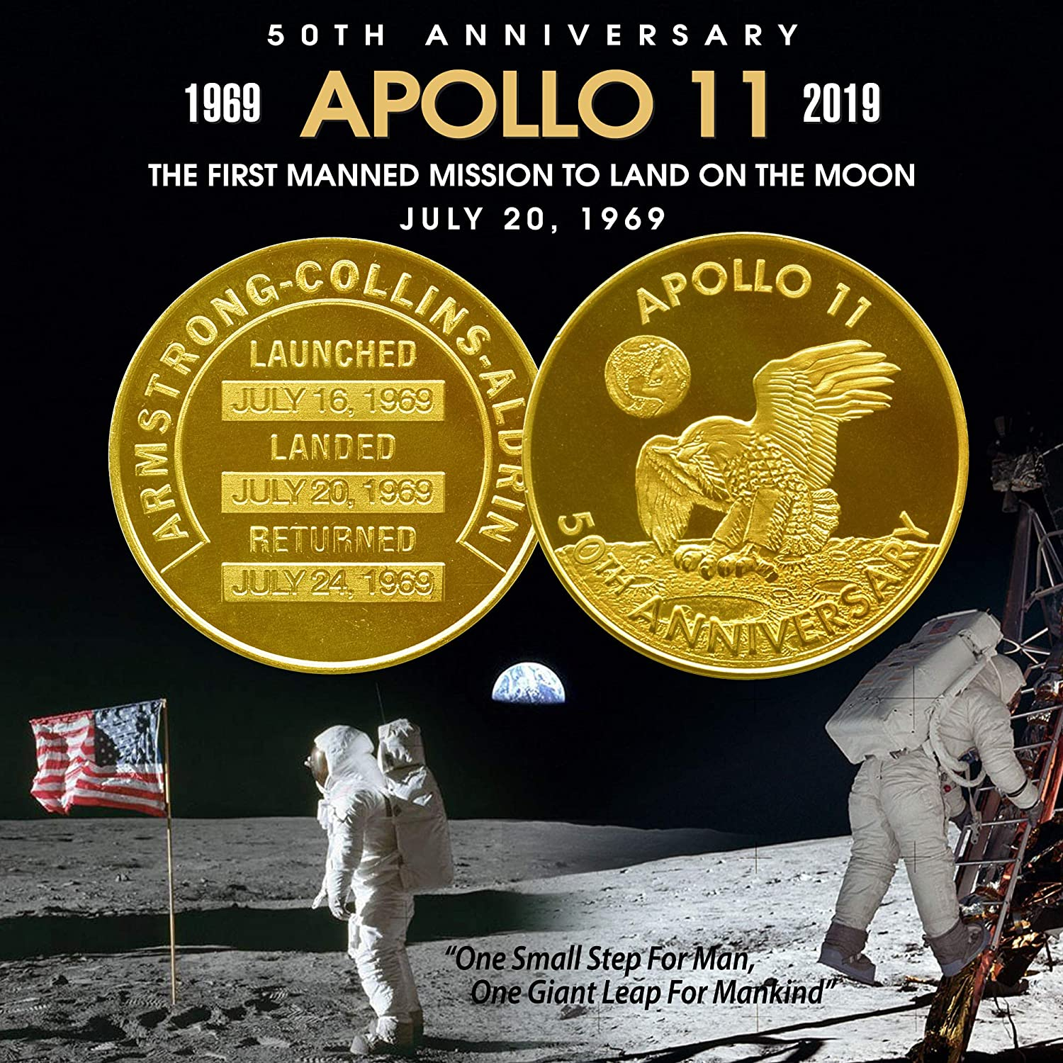 Amazon.com: Apollo 11 50th Anniversary Commemorative NASA ...