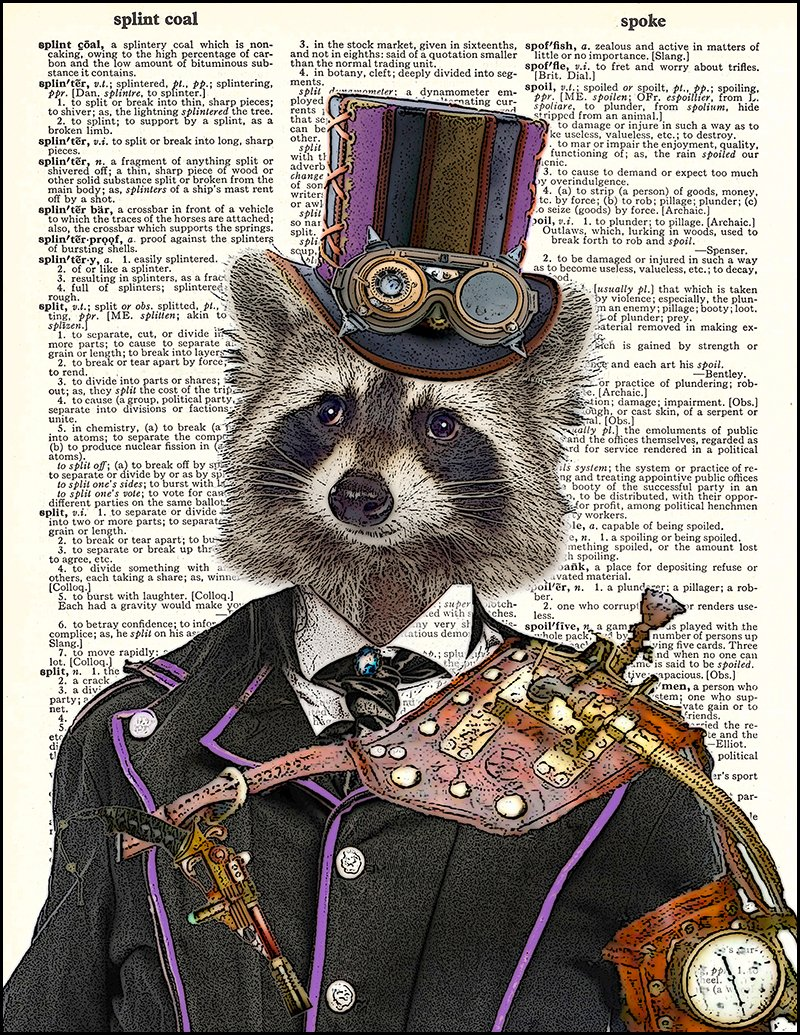 "Fresh Prints of CT Dictionary Art Print - Steampunk Racoon Colonel Roderick Racoonbottom - Printed on Recycled Vintage Dictionary Paper - 8""x11"" - Mixed Media Poster on Vintage Dictionary Page 4"