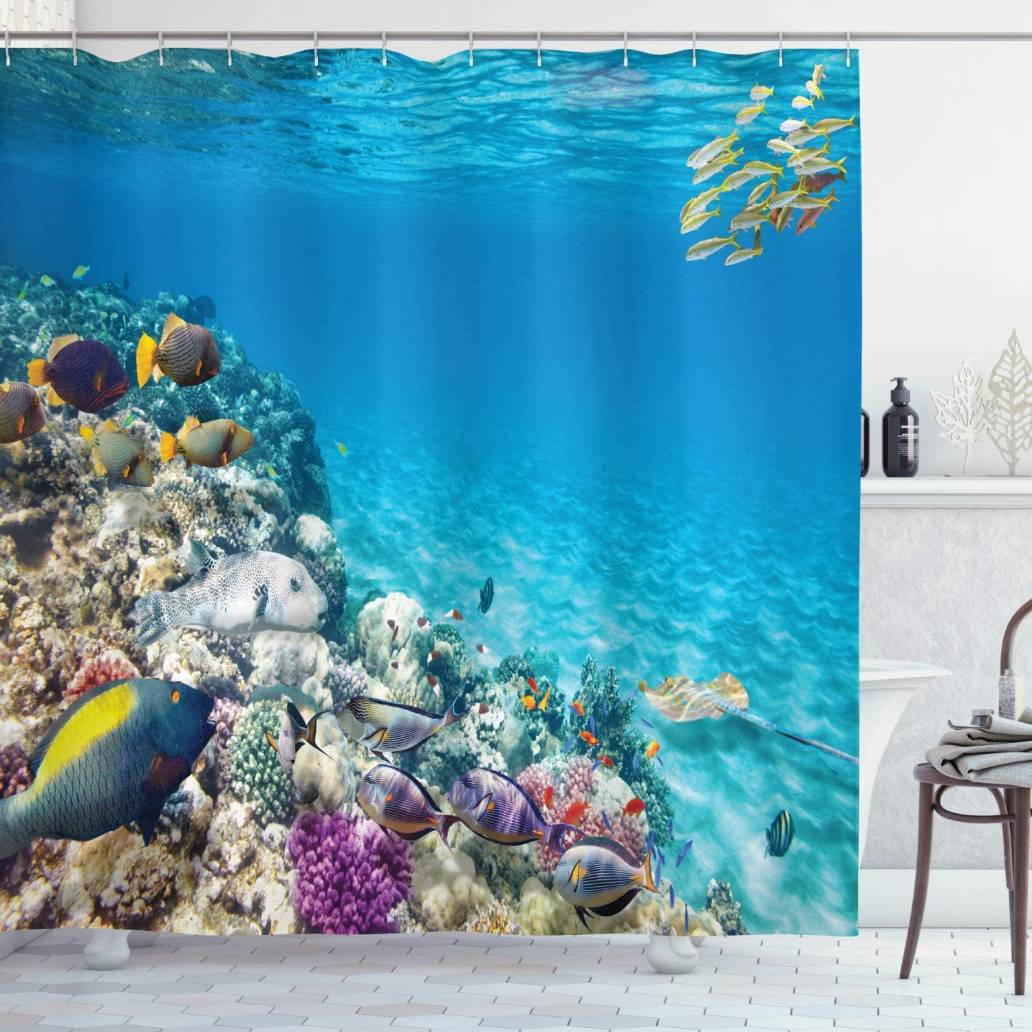 Ambesonne Ocean Shower Curtain, Clear Underwater Sea Life Animal World Corals Tropical Fishes and Stingray, Cloth Fabric Bathroom Decor Set with Hooks, 70