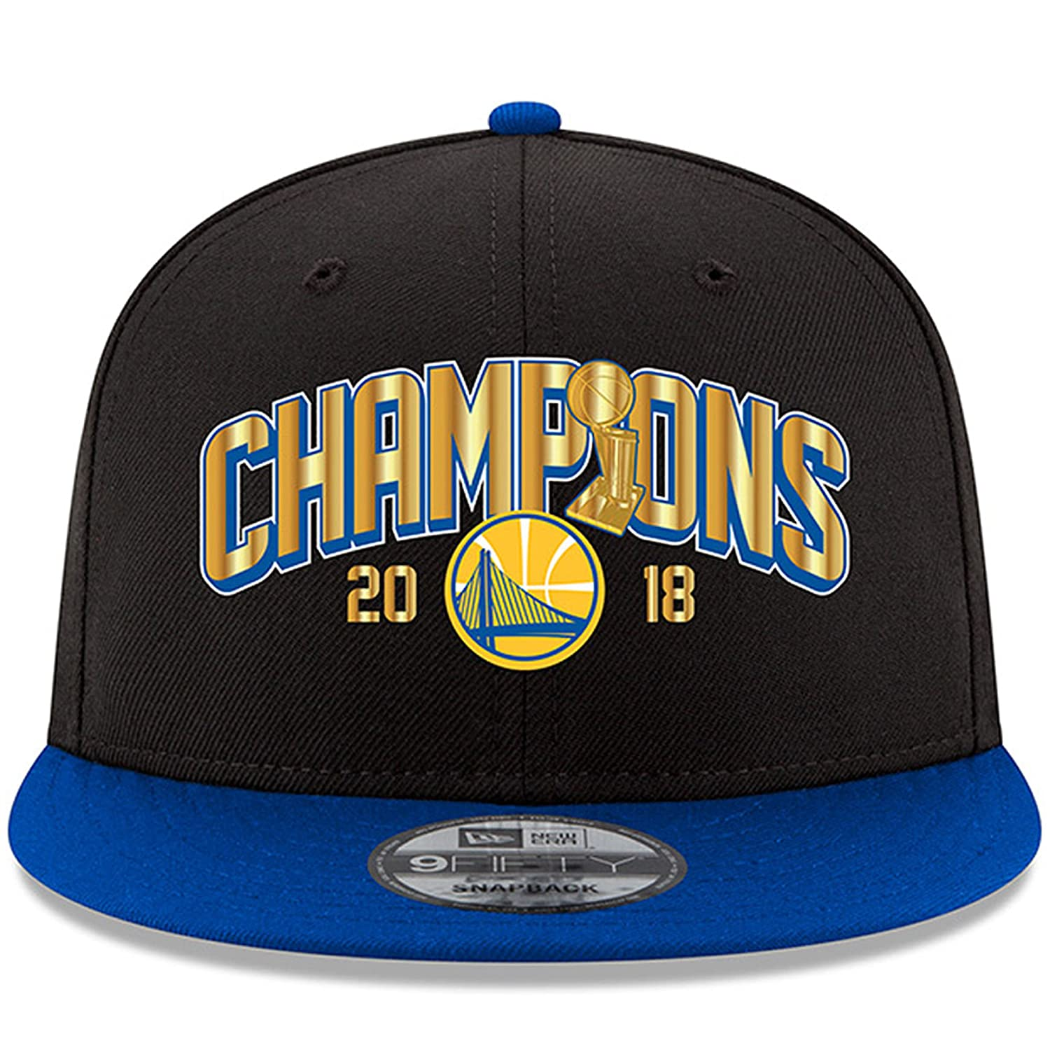 best loved cd20d f3c33 Amazon.com   Golden State Warriors New Era 2018 NBA Finals Champions Trophy  Two-Tone 9FIFTY Snapback Adjustable Hat Black Royal   Sports   Outdoors