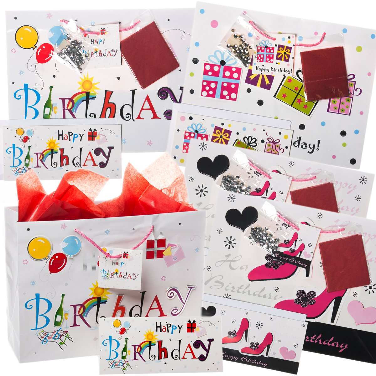 Amazon 20pc Happy Birthday Gift Bag Set Cards Envelopes Tissue Paper Handles Party Bulk Lot For Women Medium Size Health Personal Care