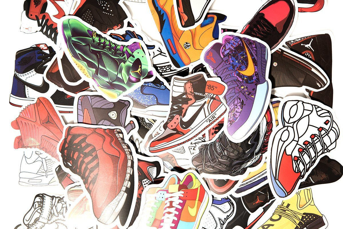 100 pack sneaker stickers hypebeast limited exclusive retro vinyl decals amazon com