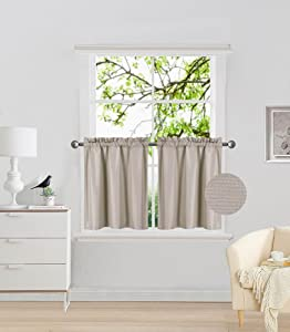 """Elegant Home 2 Panels Tiers Small Window Treatment Curtain Insulated Blackout Drape Short Panel 30"""" W X 24"""" L Each for Kitchen Bathroom or Any Small Window # R16 (Taupe)"""