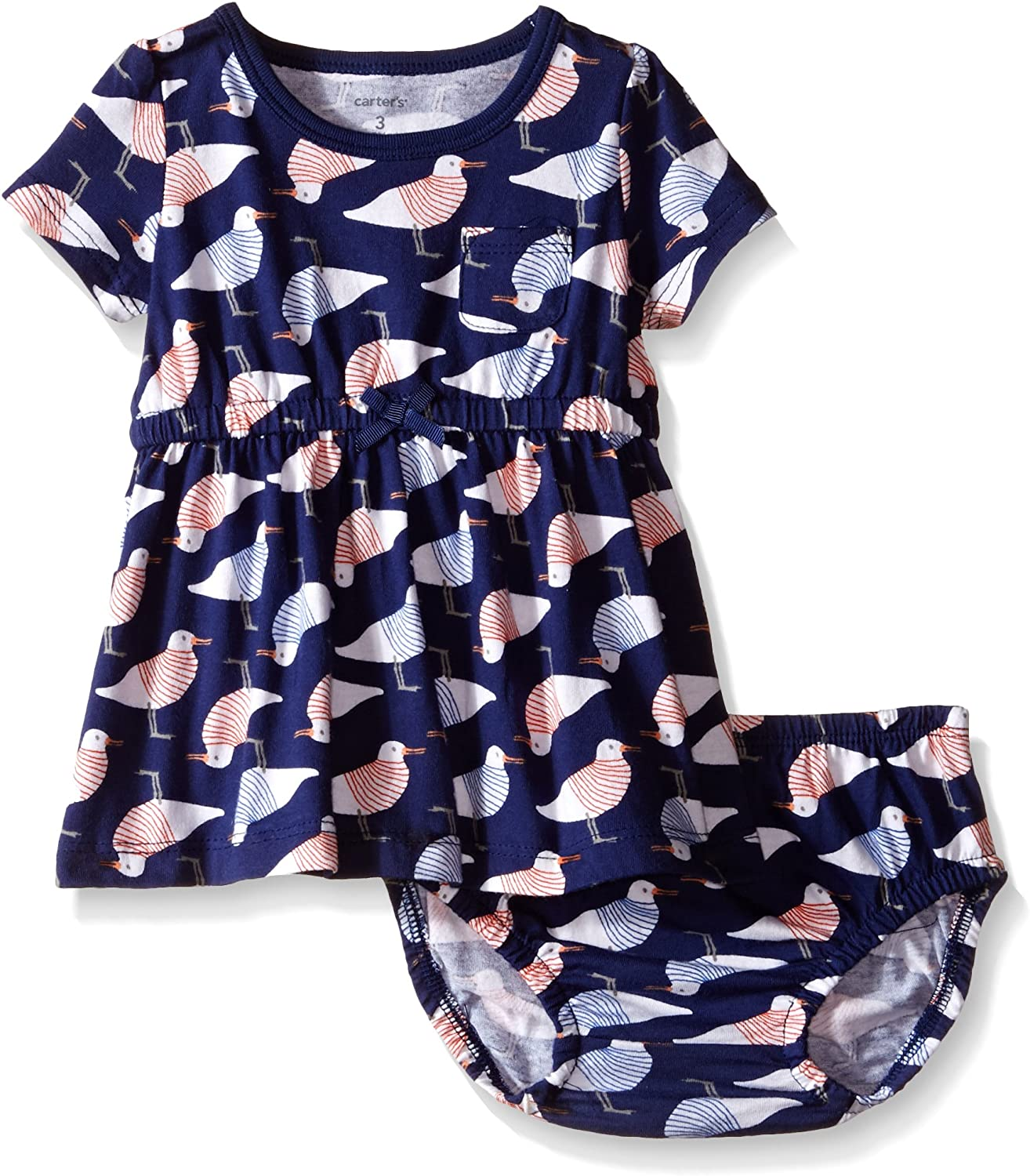 Birds-3 Months Carters Printed Dress with Panty Baby