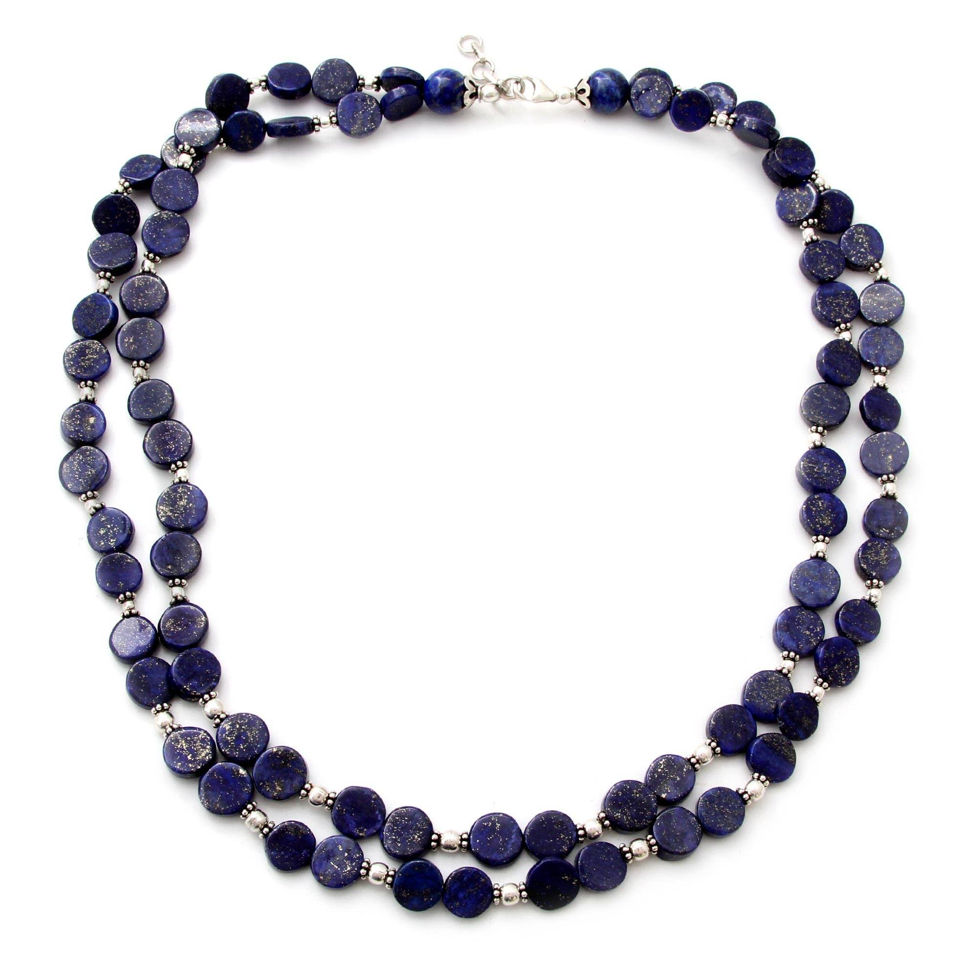 NOVICA Lapis Lazuli .925 Sterling Silver Beaded Necklace, 20.5'' 'Blue Universe' by NOVICA