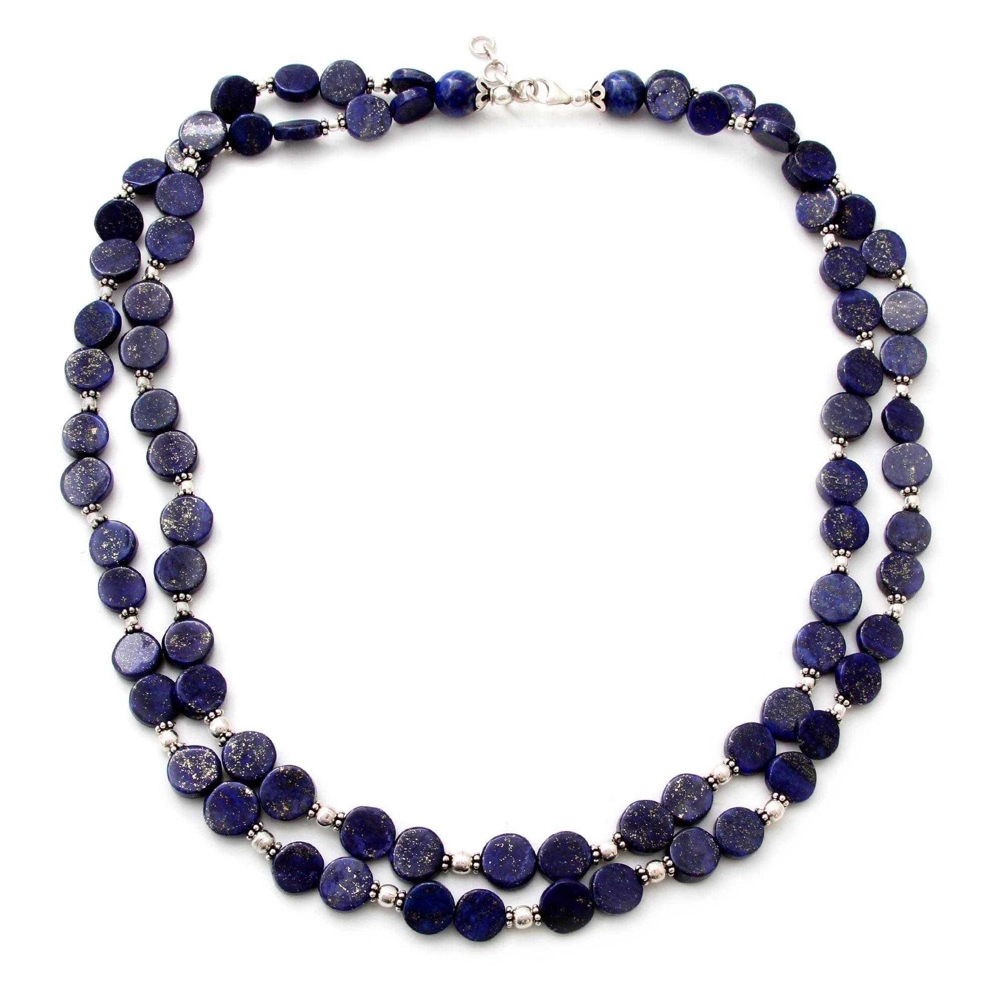 NOVICA Lapis Lazuli .925 Sterling Silver Beaded Necklace, 20.5'' 'Blue Universe'