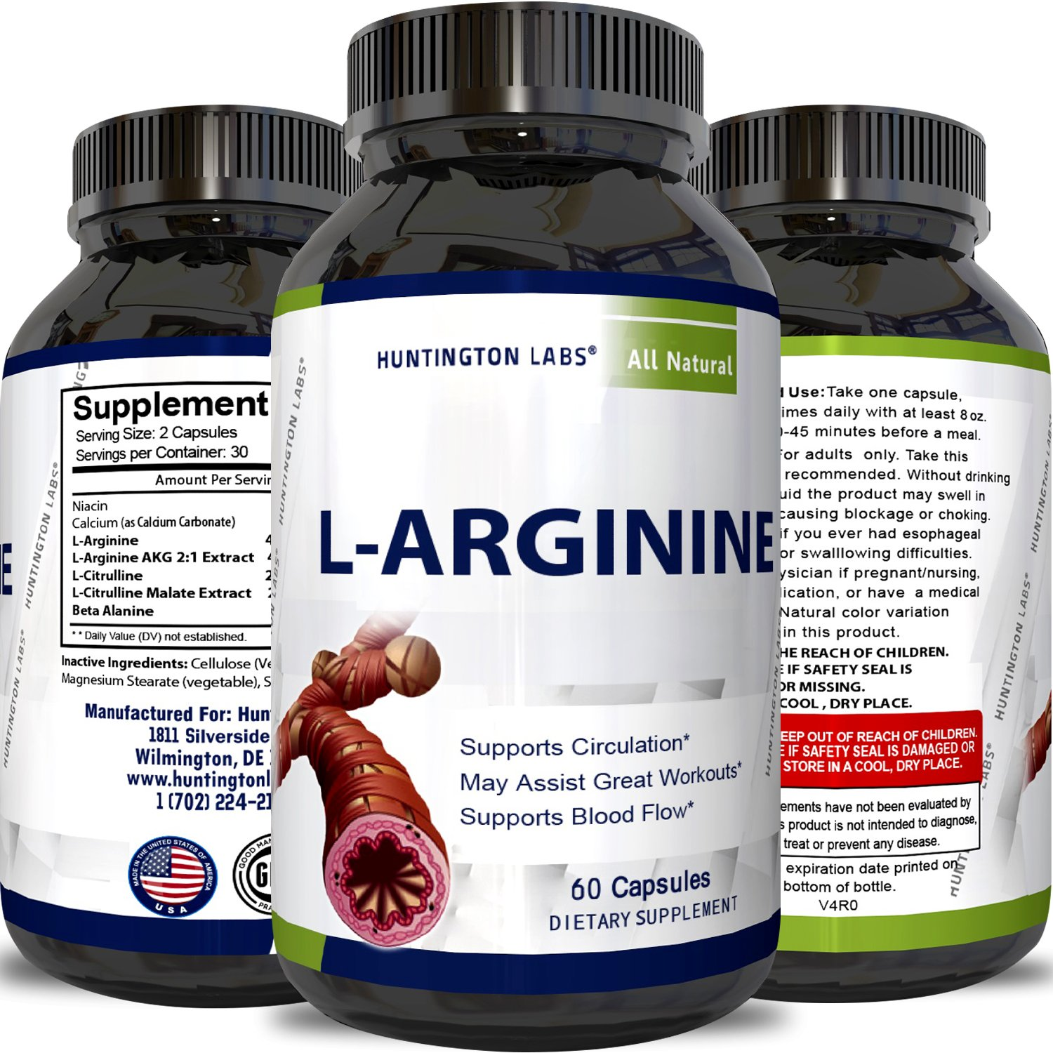 Purest L Arginine Supplement on the Market 60 Capsules - Boost Nitric Oxide Levels, Endurance & Full Time Energy Enhancement - Potent and Effective for Men, Women and Teens - Best L-Arginine by Huntington Labs